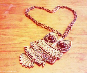 owl, necklace, and heart image