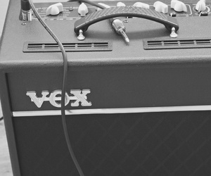 black and white, electric, and guitar image
