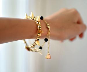 gold, bracelet, and style image
