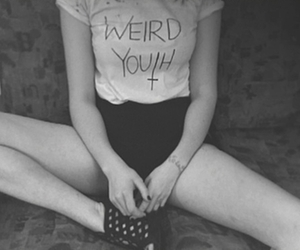 black and white, girl, and t-shirt image