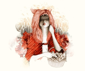 art, illustration, and red riding hood image