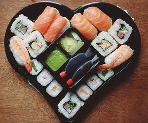 sushi, food, and heart image