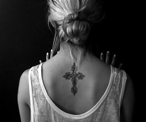 tattoo, cross, and black and white image