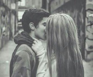 black & white, love, and kiss image