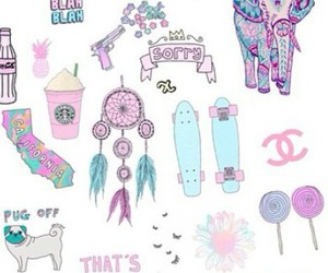 Collage, girl, and pink image