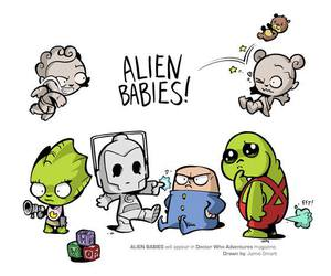 aliens, cyberman, and doctor who image