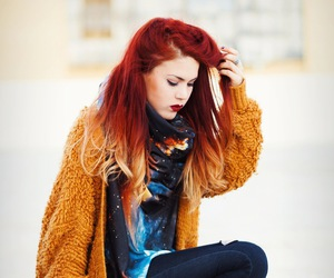 beauty, red hair, and mustard cardigan image