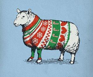 sheep, christmas, and art image