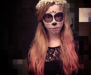 flowers, Halloween, and makeup image