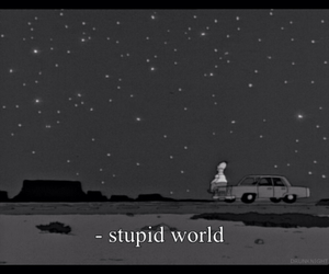 stupid, world, and stars image