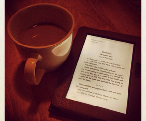 book, cuppa, and kindle image
