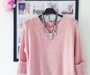 black frames, pink sweater, and pink flowers image