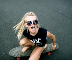 girl, blonde, and skate image