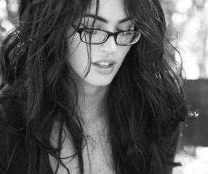 megan fox, glasses, and black and white image