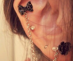 black, chic, and pircing image