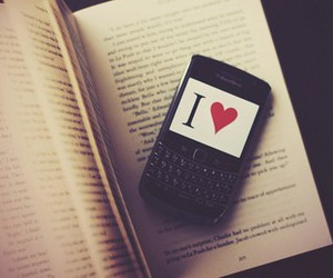 book, phone, and i love image