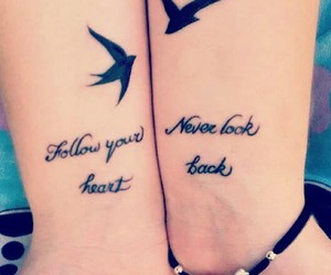 tattoo, bird, and heart image
