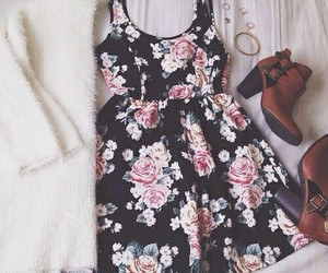 dress, shoes, and flowers image