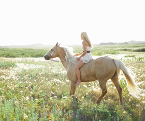 field, girl, and horse image