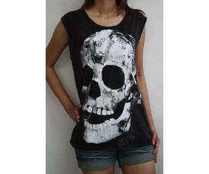 graphic, tee, and skull image