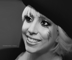 black and white, smile, and Lady gaga image