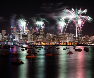 city and fireworks image