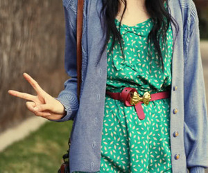 fashion, peace, and cardigan image