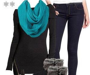 black, scarf, and clothing image