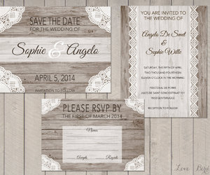 invitation, lace, and wedding image