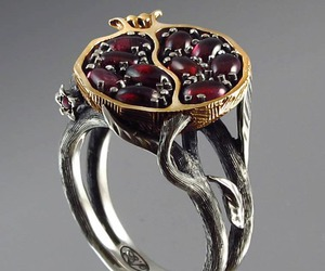 pomegranate, jewelery, and silver ring image