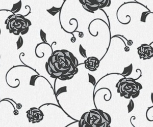 background, black and white, and floral image