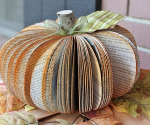book, pumpkin, and fall image