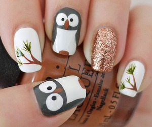 nails, nail art, and owl image
