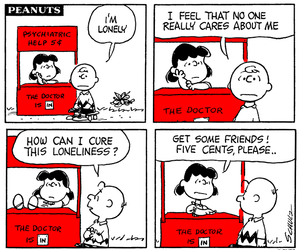 charlie brown, Lucy, and psychiatric booth image
