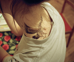 tattoo, girl, and eagle image