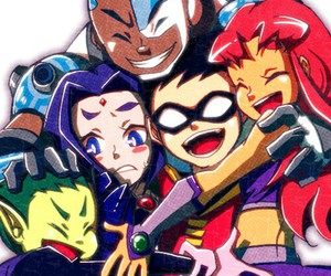 teen titans, cyborg, and robin image