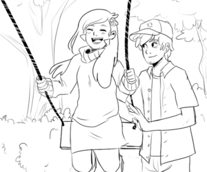 black and white, swing, and gravity falls image