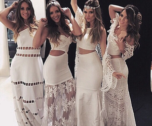 white, dress, and friends image