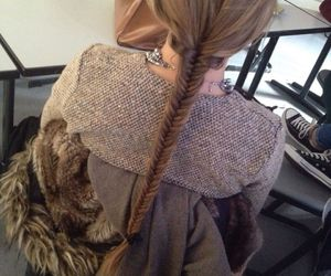 fishtail, hairstyle, and long hair image