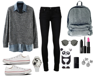 black jeans, clothes, and grey coat image