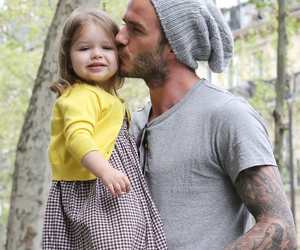 David Beckham, daughter, and kiss image