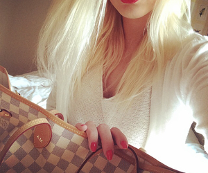 blonde, Louis Vuitton, and red lipstick image