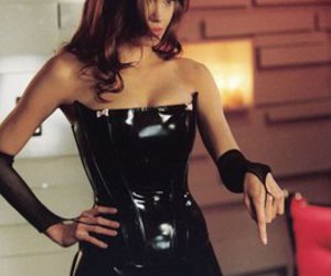 Angelina Jolie and leather dress image