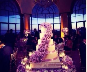 cake, purple, and roses image