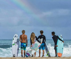 rainbow, surf, and friends image