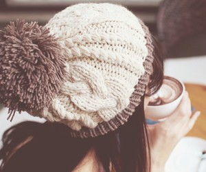 winter, hat, and coffee image