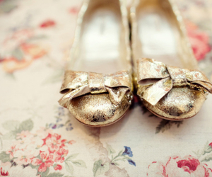 shoes, gold, and flats image