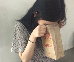 black hair, paper bag, and soft grunge image