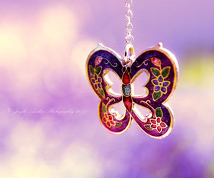 butterfly, girl, and necklace image