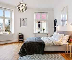 bed, bedroom, and workspace image